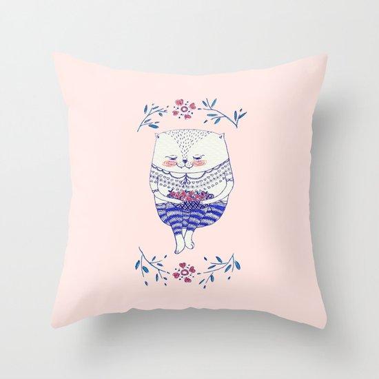 strawberry cat Throw Pillow