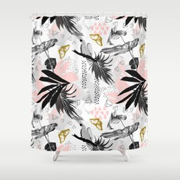 Bird in abstract nature II Shower Curtain
