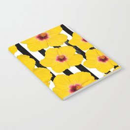 Summer Hibiscus Fun on Black & White Stripes Notebook