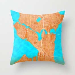 Seattle, WA, USA, Gold, Blue, City, Map Throw Pillow