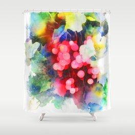 Watercolor grape vines Shower Curtain