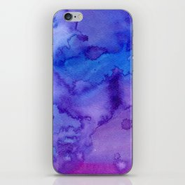 Blue purple pink hand painted watercolor pattern iPhone Skin
