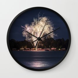 Fireworks Over Lake 12 Wall Clock