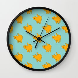 Cute Yellow Cats Pattern | Blue Wall Clock
