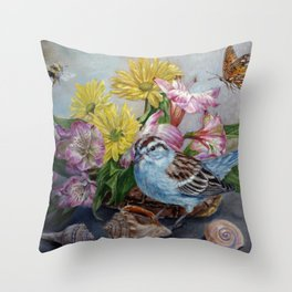 Floral still life with sparrow, bumble bee, butterfly, and sea shells Throw Pillow