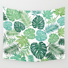 Tropical Palm and Monstera Watercolor Pattern on White Wall Tapestry
