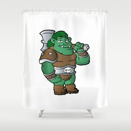 muscular orc in armor. Shower Curtain