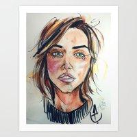 khaleesi Art Prints featuring Emilia Clarke by artistathenawhite