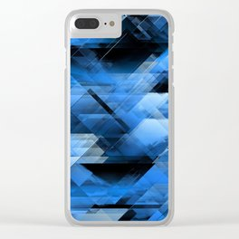 Abstract geometric blue Clear iPhone Case