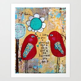 I love you a bushel and a peck, whimsical birds with flower Art Print