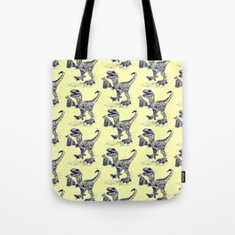 Tipsy Velociraptor with Beer Pattern Tote Bag