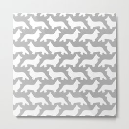Grey and White Welsh Corgi Silhouettes Pattern Metal Print