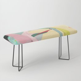 Shapes and Layers no.23 - Abstract Draper pink, green, blue, yellow Bench