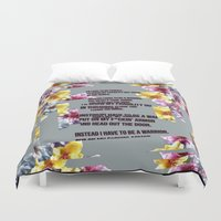 warrior Duvet Covers featuring warrior by gasponce