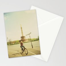 Woman on Bicycle in Berlin Stationery Cards