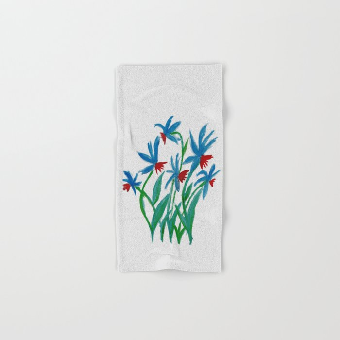 Hand painted watercolor floral blue and red flowers Hand & Bath Towel