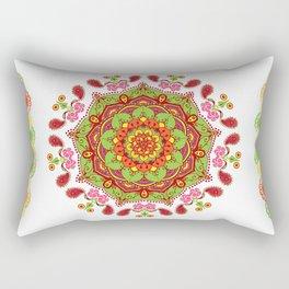 Zest For life Yellow Red Orange Green Floral Mandala Design Rectangular Pillow