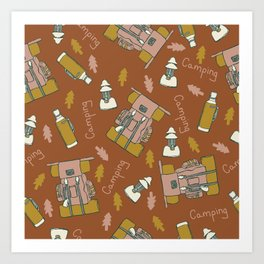 Camping Backpacking Pattern Design Art Print