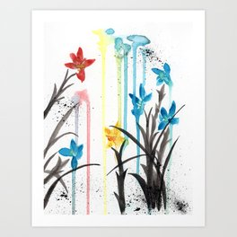 Primary Orchids Art Print