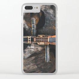 Birdseye view of a dirt screener Clear iPhone Case