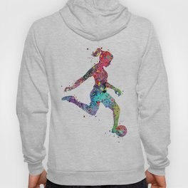Girl Soccer Player Watercolor Print Sports Print Soccer Player Poster Hoody
