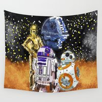 robots Wall Tapestries featuring pop culture robots  by grapeloverarts