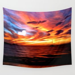 Honeymoon Sunset Wall Tapestry