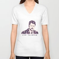 ron swanson V-neck T-shirts featuring Ron Swanson by MisfitKismet Designs