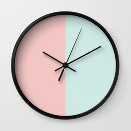 Pastel Pink & Turquoise Color Block Wall Clock