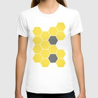 honeycomb T-shirts featuring Yellow Honeycomb by Cassia Beck
