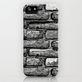 Black and white brick wall iPhone Case