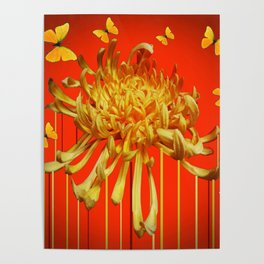 SURREAL YELLOW SPIDER MUM & BUTTERFLIES ORANGE ART Poster
