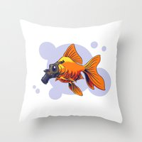 breathe Throw Pillows featuring Breathe by rob art | simple