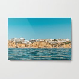 People On Lagos Beach Of Algarve In Portugal, Travel Photo, Large Printable Photography, Ocean Wall Metal Print