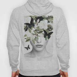 Woman With Flowers and Butterflies 3 Hoody