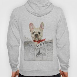 French bulldog with newspaper, bonjour Hoody
