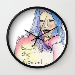 """""""Be in the Moment"""" (freemotion drawing with watercolor) Wall Clock"""