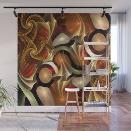 Abstract Red and Gold Wall Mural