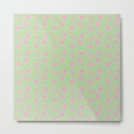 hearts and star dot green Metal Print