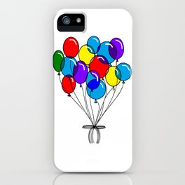 A Bouquet of Multi-Colored Balloons tied in a Bow iPhone Case