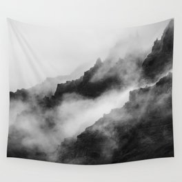 Foggy Mountains Black and White Wall Tapestry