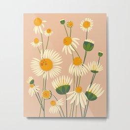 Cute Chamomile Peach Metal Print