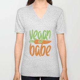 Vegan Babe, Girl, Plant Based Design Unisex V-Neck