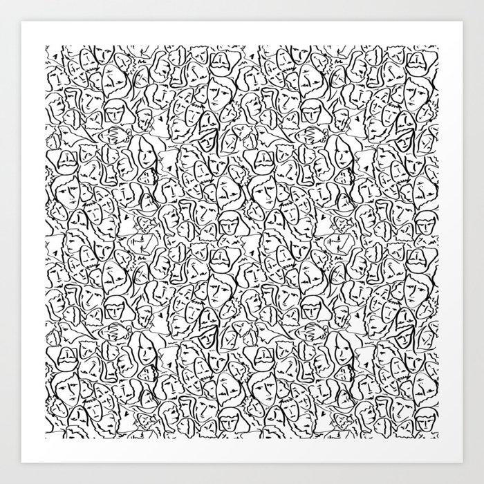 Elio's Shirt Faces in Black Outlines on White Kunstdrucke