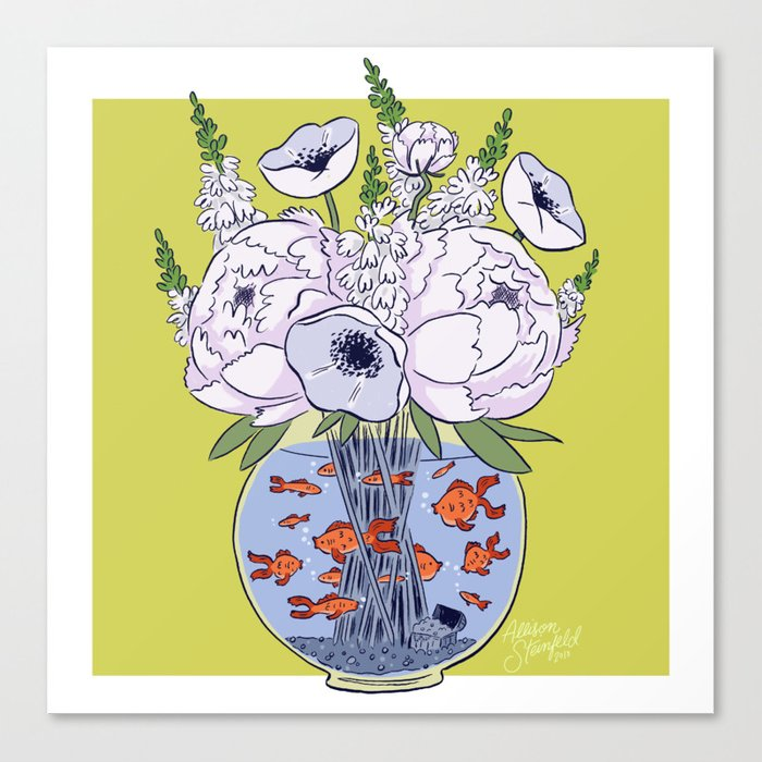 Goldfish Flowers Canvas Print
