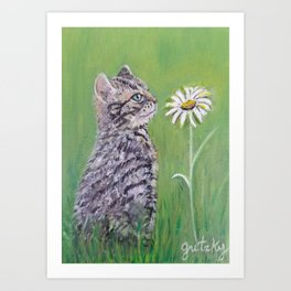 Kitten with Daisy Art Print