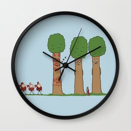 Tree Prank Gone Wrong Wall Clock