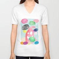 macaron V-neck T-shirts featuring A wild creature in a macaron rain by Konstantina Louka