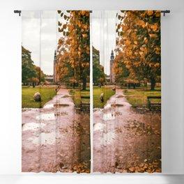 Digital Painting of Autumn in King's Garden in front of Rosenborg Castle of Copenhagen, Denmark Blackout Curtain