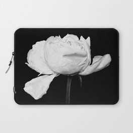 White Peony Black Background Laptop Sleeve